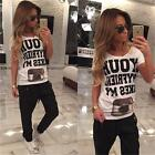 Womens White Black Printed T-Shirt Tops Short Sleeve Loose Casual Hip-hop Shirts