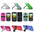 For LG Lucid 3 - Total Protection Kickstand Tough Hybrid Phone Cover Case