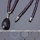 "1PC Women's Faceted Crystal Glass Beads Teardrop Dangle Pendant Necklace 17""L"