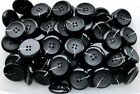 Large 32mm Black Chunky Size 50L Quality 4 Hole Buttons Various Pack Sizes(BB41)