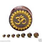 Plugs Pair Dark Tamarind Wood With Gold Ohm Symbol Face Double Flare