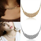 Vintage Women Crystal Choker Chunky Statement Pendant Chain Charm Bib Necklace