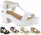 Ladies Women Mid Block Heel Chunky Platform Cleated Sole T Bar Sandal Shoes Size