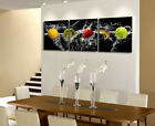Fruits In Splash Modern Decor Clock Canvas Print 3 Panel Set Triptych FRAMED