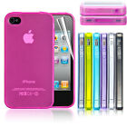 Ultra Thin Silicone Case Cover With Dust Plug For iPhone 4 4S + Screen Protector