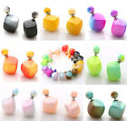 Hot Jewelry Ladies Bicolor Square Bead Double Sided Earrings Ear Studs Pierced