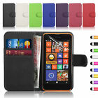 Flip Wallet Leather Case Cover & Screen Film & Stylus For Nokia Lumia 630 635