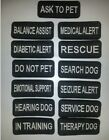 Small Black Sew-On Embroidered Patches - SERVICE DOG  ASSORTED - 1 1/4 x 3""