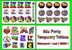 PARTY 80s fancy dress TATTOOS temporary  tattoo LAST1 WEEK costume acessory logo