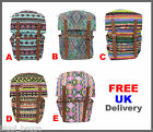 AZTEC RUCKSACK BACKPACK Festival Ladies Travel School Canvas Satchel Laptop Bag