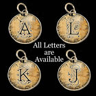 Initials Letters Vtg Typewriter Key Size Necklace Silver Pewter Charm Pendant