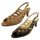 Comfort Plus Ladies Wide Fit Black Nude Patent Sling Back Heels Evening Sandals