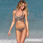 Women Leopard Bikini Bandeau Push-Up Bra Bathing Swimsuit Summer Beach Swimwear