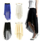 CHIC Sexy Women Chiffon Skirt High Low Asymmetrical Maxi Dress Elastic Waist