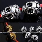 5X Punk Gothic Carved 3D Skull Head Spacer Charms Finding Loose Bead Jewelry DIY
