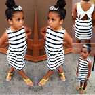 2017 Summer Baby Kids Girls Party Wedding Striped Bowknot Gown Fancy Dress 2-7Y