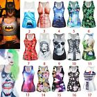 Women Summer 3D Colorful U Neck Stretch Sleeveless Vest Tight Tank Top BX