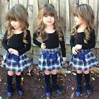 Sweet Baby Toddler Kids Girl 2PCS Set Long Sleeve Blouse and Pleated Skirt C99D