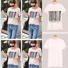 Fashion Women Ladies White Short Sleeve Shirt Top Summer Casual T-Shirt Blouse