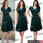 Womens V Neck Vintage-Style Party Dress Sexy Pleated Swing Bridesmaid Dresses