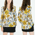 Sexy Fashion Women Blouse Chiffon Floral Print Casual Shirt Long Sleeve Tops S-L