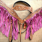 HILASON WESTERN LEATHER HORSE BRIDLE HEADSTALL BREAST COLLAR TAN W/ PINK FRINGES