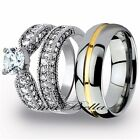 Design 3 Pcs His Tungsten Her Stainless 3.15Ct Steel Engagement Wedding Ring Set