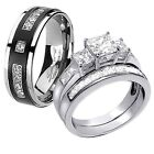 Hers 925 Sterling Silver Princess Cut AAA CZ His Titanium Wedding Ring Band Set