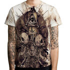 Illuminati All Seeing Eye Skull Tattoo Mens T-Shirt tee