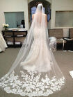 New White/Ivory 1 Layer Cathedral Length Lace Edge Wedding Bridal Veil With Comb