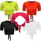 NEW Womens Ladies Crepe OPEN Wrap BACK TIE Knot CROP Top TEE Shirt SIZE 8 10 12