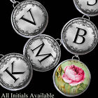 "Shabby Vtg Chic Pink Roses Initials Letters Necklace 1"" Silver Charms Pendants"