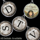"Angels Are Among Us Initials Letters Necklace 1"" Silver Pewter Charms Pendants"