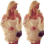 Hippie Boho Womens Floral Lace Clubwear Party Summer Long Top Mini Party Dress