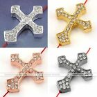 1x Side Ways Crystal Thick Cross Connector Charms Finding Bead For Bracelet DIY