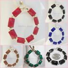 CLIP ON 2.5 inches Hoop Handmade Rectangle Bead Large Fashion Earrings 1 Pair