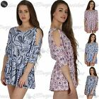 Women Ladies All In One Peice Cold Cut Shoulder Batwing Keyhole Back Playsuit