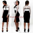 Womens lace patchwork color block slit bodycon midi pencil dress B29