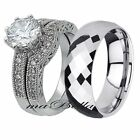 3 Pcs Mens Tungsten & Womens .925 Sterling Silver Sale Wedding Ring Band Set