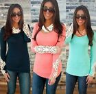 Fashion Women Long Sleeve Lace Tops Vest Tank Summer Casual T Shirt Tops Blouse