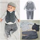 3pcs Newborn Baby Boy Waistcoat Pants Plaid Shirt Clothes Sets Outfits Hot Sale