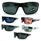 Choppers Mens Biker Classic Rectangular Warp Motorcycle Plastic Sunglasses