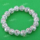 Faceted Colorful Crystal Glass Bead Flower Bracelet Bangle Elastic Stretchy Gift