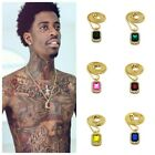 ICED OUT RUBY ONYX PINK BLUE PENDANT GOLD CHAIN NECKLACE HIPHOP MINI MICRO SQ
