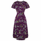 Hell Bunny Purple Bird Print 1940s WW2 Wartime Victory Tea Dress
