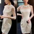 Floral Applique Beadwork Lady's Sheer Mesh Women Fitted Mini Dress Hidden Zipper