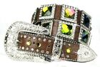 AB VOLCAN0 LEATHER BROWN WESTERN RHINESTONE COWGIRL BELT MEDIUM LARGE XL 8-9