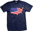 Distressed American Flag Country Map Outline - USA Pride Patriotic Mens T-Shirt