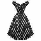 Collectif Dolores Doll Black Dot Vintage Retro 1950s Prom Swing Dress