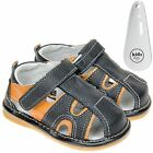 Boys Toddler Childrens Leather Squeaky Shoes Sandals Black & Orange & Shoe Horn